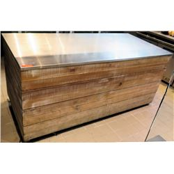"Stainless Prep Table w/ Distressed Wood Casing 80.5""x37""x37""H"