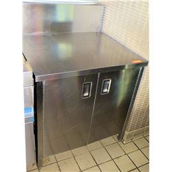 "Stainless Steel Prep Table w/ Backsplash & Cabinet 28.5""x34.5""x35""H"
