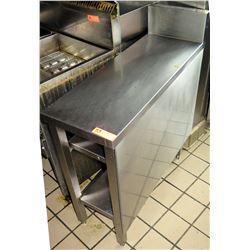 """Narrow Stainless Steel Prep Table w/ Backsplash & Undershelf 13""""x36""""x37""""H"""