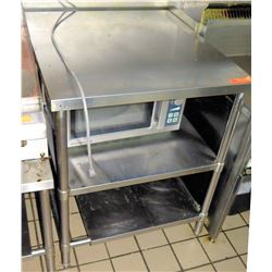 """Stainless Steel Square Prep Table w/ 2 Undershelves 29.5""""x32""""x36""""H"""