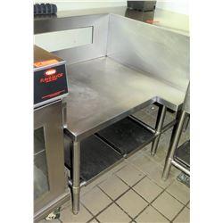 "Stainless Steel Prep Table Corner Unit w/ Backsplash 53.5""x37.5""x36"""