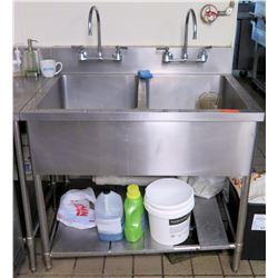 "Stainless Steel 2-Basin Deep Sink w/ Undershelf 41.5""x29.5""x35""H"