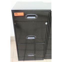 """Black Metal 3-Drawer File Cabinet 14.5""""x18""""x27.5""""H"""