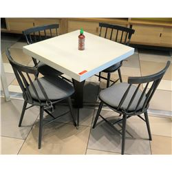 White Table w/ Metal Base (31x31) & 4 Wooden Chairs w/ Seat Cushions