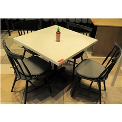 White Table w/ Metal Base (35x35) & 4 Wooden Chairs w/ Seat Cushions