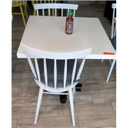 White Table w/ Metal Base (24x24) & 2 Wooden Chairs w/ Seat Cushions