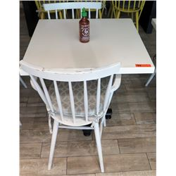 White Table w/ Metal Base (30x30) & 2 Wooden Chairs w/ Seat Cushions