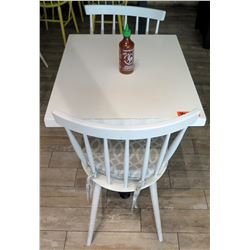 White Table w/ Metal Base (24x30) & 2 Wooden Chairs w/ Seat Cushions