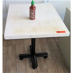 White Table w/ Metal Base (24x30) -  surface of table has damage)