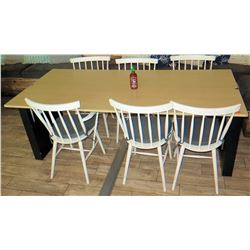 Modern Maple-Tone Table (78x36) & 6 Wooden Chairs w/ Seat Cushions