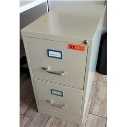 "Beige Two-Drawer Metal File Cabinet 15""x26""x28""H"