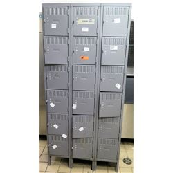 "Gray Metal Locker Unit w/ 18 Compartments, 36""x12""x78""H"