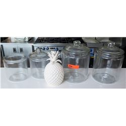 Qty 4 Clear Jars (3 w/ Lids) & White Ceramic Pineapple