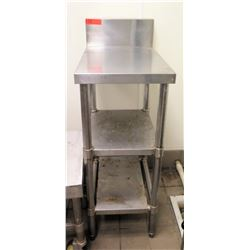 "Narrow Stainless Steel Prep Table w/ Backsplash & 2 Undershelves 15""x24""x36""H"