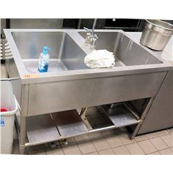 "Stainless Steel 2-Basin Sink w/ Undershelf 47"" x 29.5 x 35"""