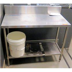 "Stainless Steel Rectangle Prep Table w/ Backsplash & Undershelf 42"" x 21.5"" x 33.5""H"