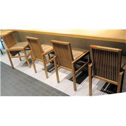 Qty 4 Reeded Modern Wooden Chairs w/ Upholstered Seats (18x20 seat)