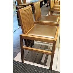 Qty 2 Reeded Modern Wooden Chairs w/ Upholstered Seats (18x20 seat)