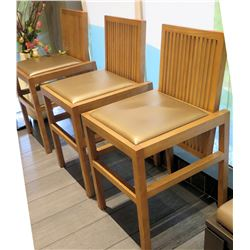Qty 3 Reeded Modern Wooden Chairs w/ Upholstered Seats (18x20 seat)