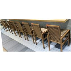 Qty 8 Reeded Modern Wooden Chairs w/ Upholstered Seats (18x20 seat)