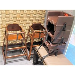 Qty 2 Wooden High Chairs & 3 Booster Seats