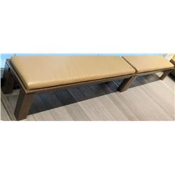"Qty 2 Wooden Bench w/ Upholstered Seat 71""x17.5""x15.5""H"