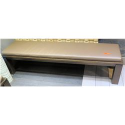 "Wood Bench Seat w/ Tan Upholstery 71""x17.5""x15.5""H"