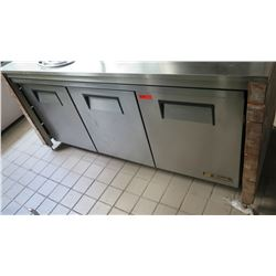 "True 3-Door Undercounter Refrigerator, Model TUC-72 (72.5"" x 30""D x 30""H)"