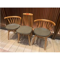 Qty 3 Misc. Wooden Chairs w/ Cushions