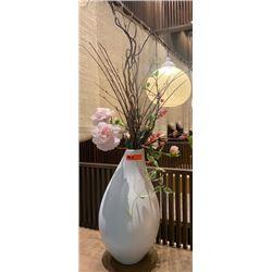Faux Floral Arrangement w/ White Minimalist Ceramic Vase