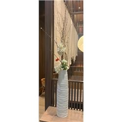 Faux Floral Arrangement w/ Tall White Ceramic Vase