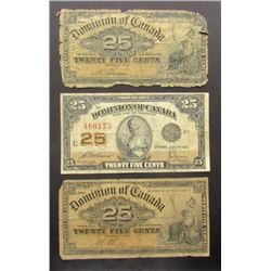 3-DOMINION of CANADA 25c NOTES