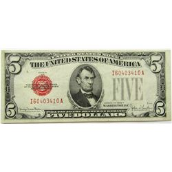 1928 $5 RED SEAL US NOTE CU