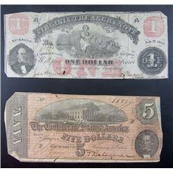 1862 VIRGINIA TRESURE NOTE & 1864