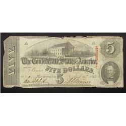 1863 $5 CONFEDERATE STATES of AMERICA