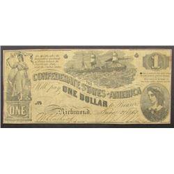 1862 $1 CONFEDERAT STATES of AMERICA