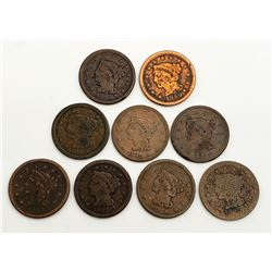 9- Large Cents; Mixed Dates, CIRC'S