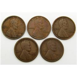 5 LINCOLN WHEAT CENTS BETTER DATES
