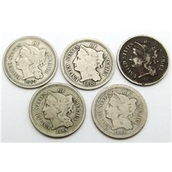 5-THREE CENT NICKELS AVG CIRC