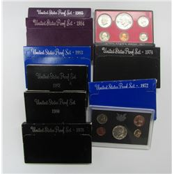 10 US PROOF SETS B/W YEARS '69-'85