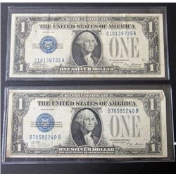 """2-1928 $1""""FUNNY BACK"""" SILVER CERTS"""