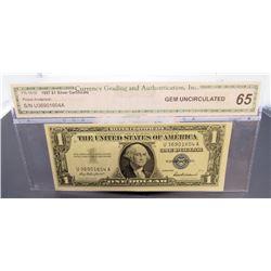 1957 $1 SILVER CERT CGA 65