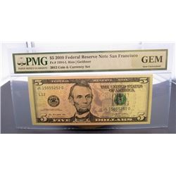 2009 $5 FED RES NOTE PMG GEM