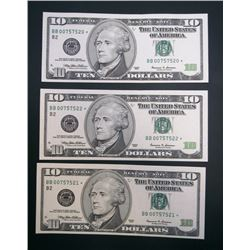 3-CONSECUTIVE STAR $10 NOTES