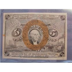 1863 FIVE CENT FRACTIONAL NOTE