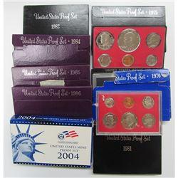 10 U.S PROOF SETS B/W YEARS '70-'04