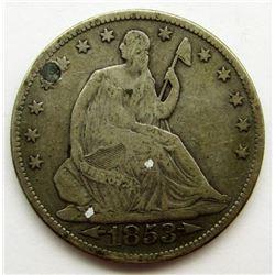 1853 SEATED HALF DOLLAR XF/AU