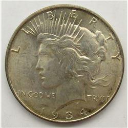 1934-D PEACE SILVER DOLLAR AU/BU