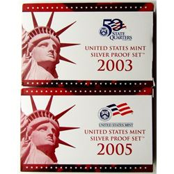 2003 & 2005 U.S. MINT SILVER PROOF SETS