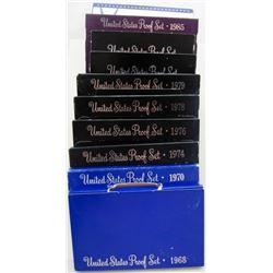 10 U.S PROOF SETS B/W YEARS '68- '00